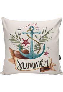 "Capa De Almofada Ocean ""Summer""- Azul & Marrom- 45X4Stm Home"