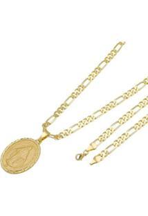 Pingente Nossa Senhora Das Graças Tudo Joias Com Corrente 6Mm Folheada A Ouro 18K - Unissex-Dourado