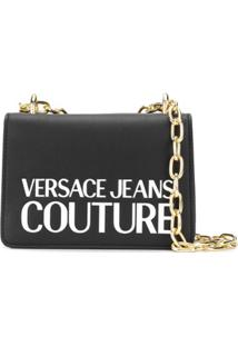 Versace Jeans Couture Logo Print Shoulder Bag - Preto