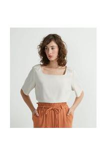 Blusa Decote Quadrado Em Crepe Com Detalhe No Ombro | Cortelle | Branco | M
