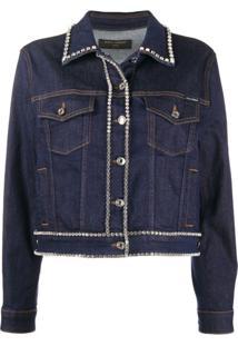 Dolce & Gabbana Jaqueta Jeans Com Acabamento De Cristais - Azul