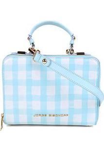 Bolsa Couro Jorge Bischoff Clutch Xadrez Vichy Sea Feminina - Feminino-Azul Claro