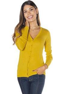 Cardigan Dwz Com Botão Feminina - Feminino-Amarelo