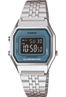 Relógio Casio Vintage - Feminino-Prata+Azul