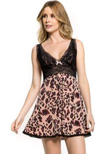 Camisola Inspirate Curta Animal Print Preto
