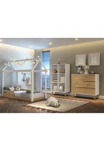 Dormitório Analu Guarda Roupa Comoda 3 Gavetas Cama Montessoriana Casinha Carolina Baby Branco