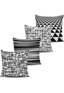 Kit 4 Capas Almofadas Geometrica Black White 16 45X45Cm