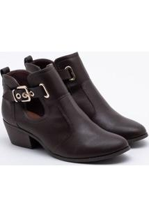 Ankle Boot Bebecê Recortes Marrom 35