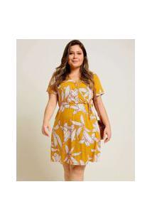 Vestido Plus Size Feminino Transpassado Estampa Floral Marisa