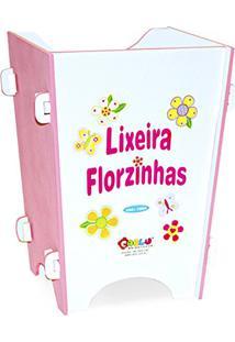 Lixeira Florzinhas Em Mdf Branco/Rosa 1664 - Carlu