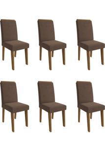 Conjunto Com 6 Cadeiras De Jantar Taís I Suede Savana E Chocolate
