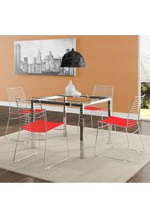 Mesa 326 Vidro Incolor Cromada Com 4 Cadeiras 1712 Vermelha Carraro