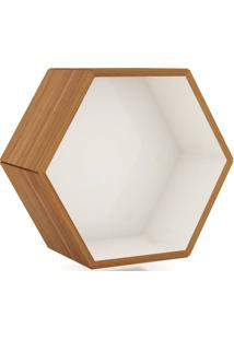 Nicho Hexagono 52X45Cm Cor Freijo Com Off White - 52898 - Sun House