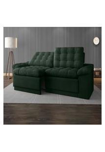 Sofá 4 Lugares Net Confort Assento Retrátil E Reclinável Verde 2,20M (L)