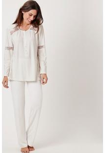 Pijama Joge Longo Off-White - Off-White - Feminino - Dafiti