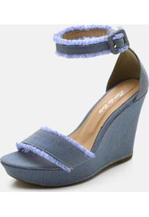 Sandã¡Lia Anabela Salto Alto Em Tecido Jeans - Azul - Feminino - Dafiti