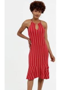 Vestido Marisa High Neck Listrado Feminino - Feminino-Vermelho