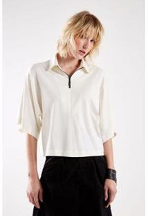 Blusa Malha Decote Zíper Sacada Feminina - Feminino-Off White