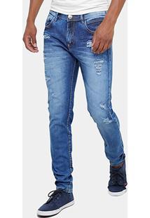 Calça Jeans Skinny Preston Estonada Rasgos Masculina - Masculino