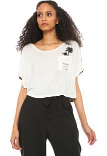 Camiseta Cropped Lez A Lez Com Bolso Off-White