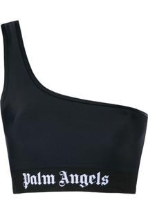 Palm Angels Blusa Cropped Um Ombro Só - Preto