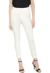 Calça Calvin Klein Slim Cropped Alfaiataria Off-White