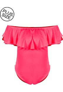 Body Outletdri Neon Plus Size Suplex Babado Detalhe Rosa Neon