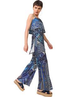 Macacão Desigual Pantalona Candice Azul