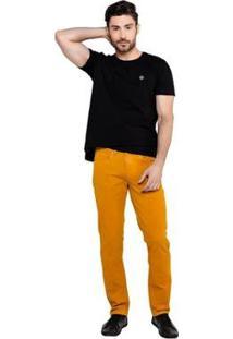 Calça Latifundio Sarja Slim Fit Masculina - Masculino-Caramelo