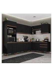 Cozinha Completa De Canto Madesa Reims 462001 Com Armário E Balcão Preto Preto