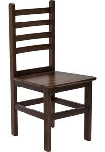 Cadeira Fixa De Madeira Maciça Com Encosto Anatômico Verniz Imbuia