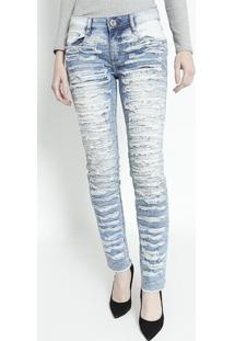 Jeans Low Second Skinny Destroyed - Azul Claro- Lançlança Perfume
