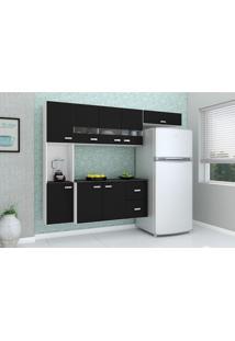 Cozinha Compacta Julia 4 Peças 8 Portas Balcão Com Preto Poquema