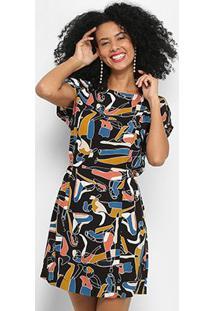 Vestido Cantão Curto Estampado - Feminino-Laranja