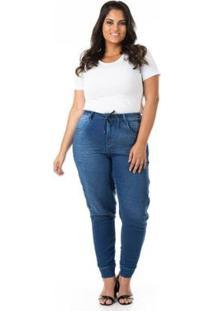 Calça Jeans Jogger Plus Size Confidencial Extra Feminina - Feminino-Azul