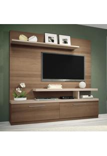 Estante Para Home Theater Maxx Macchiato E Naturale Textura Alto Relevo Hb Móveis