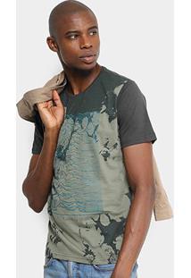Camiseta Overcore Estampada Masculina - Masculino-Verde Militar