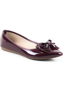 Sapatilha Tag Shoes Verniz 2 Laços Feminina - Feminino-Vinho