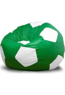 Puff Infantil Bola Super Courino Verde/Branco - Phoenix Puff