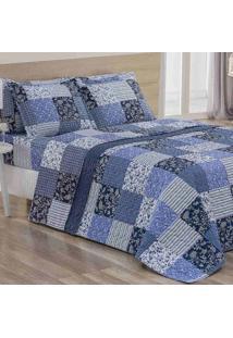 Cobre-Leito/Colcha Queen Micropercal/Stripes Jardim Blue