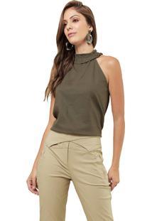 Regata Mx Fashion Com Detalhe Deborah Verde Militar