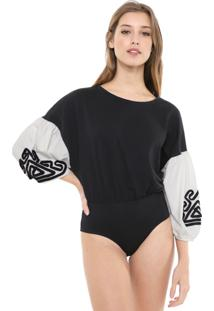 Body Dress To Bordado Preto/Off-White