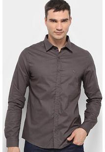 Camisa Acostomento Manga Longa Básica Masculina - Masculino-Chumbo