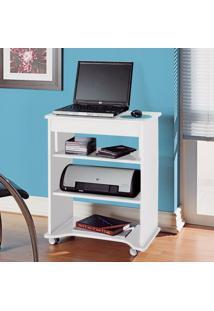 Escrivaninha Para Computador Com Prateleiras Móvel Artely Branco