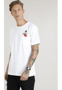 Camiseta Masculina Tio Patinhas Com Bolso Manga Curta Gola Careca Off White