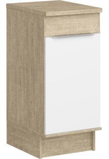Balcão De Cozinha 40,2 Cm 1 Porta Cs602R Acácia/Branco - Decibal Móveis