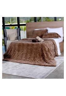 Cobertor Slim Peles Casal Com Porta Travesseiro Xaxim - Tessi