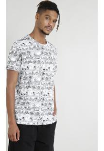 Camiseta Masculina Mickey Mouse Estampada De Quadrinhos Manga Curta Branca