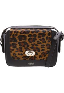 527558f62a Bolsa Couro Laila Leopard Tiracolo Pequena Preta Animal Print