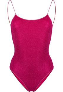 Oseree Metallic Lurex Swimsuit - Rosa
